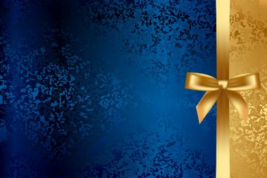 Vector turquoise and gold background with bow