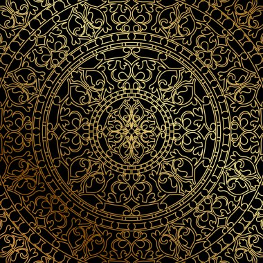 Vector black background with gold oriental ornament