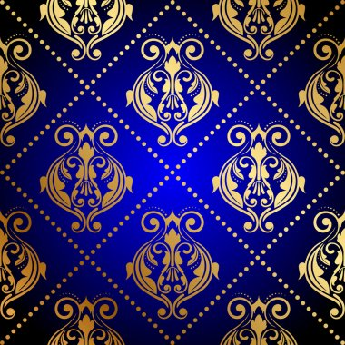 Vector blue background with luxury gold ornament