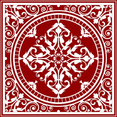 Vector red and white asian rug