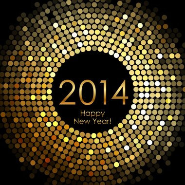 Vector - Happy New Year 2014 - gold disco lights frame