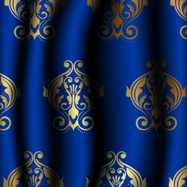 Vector illustration of luxury blue material with gold pattern