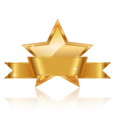Vector illustration of gold star award with shiny ribbon with sp