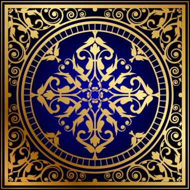 Vector illustration of oriental blue & gold rug