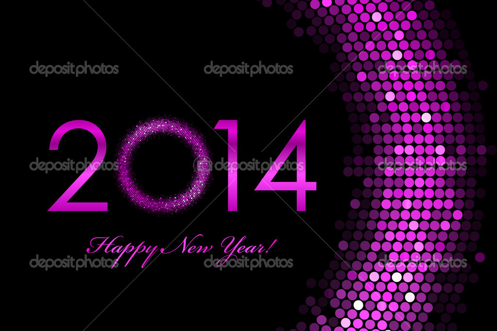 vector 2014 happy new year purple background stock vector