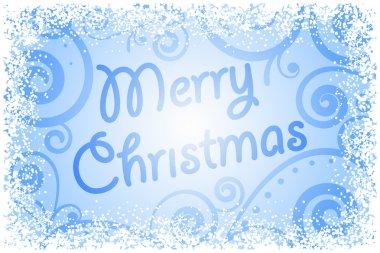 Vector Merry Christmas on frozen window