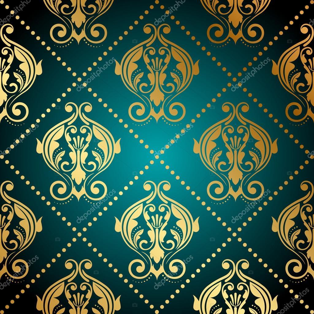 vektor t rkis und gold verziert tapete stockvektor yuliaglam 35164209. Black Bedroom Furniture Sets. Home Design Ideas