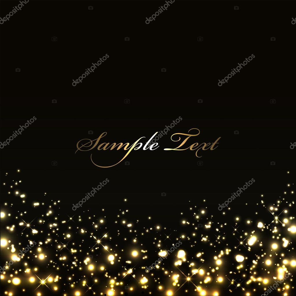 Vector luxury black background with gold lights