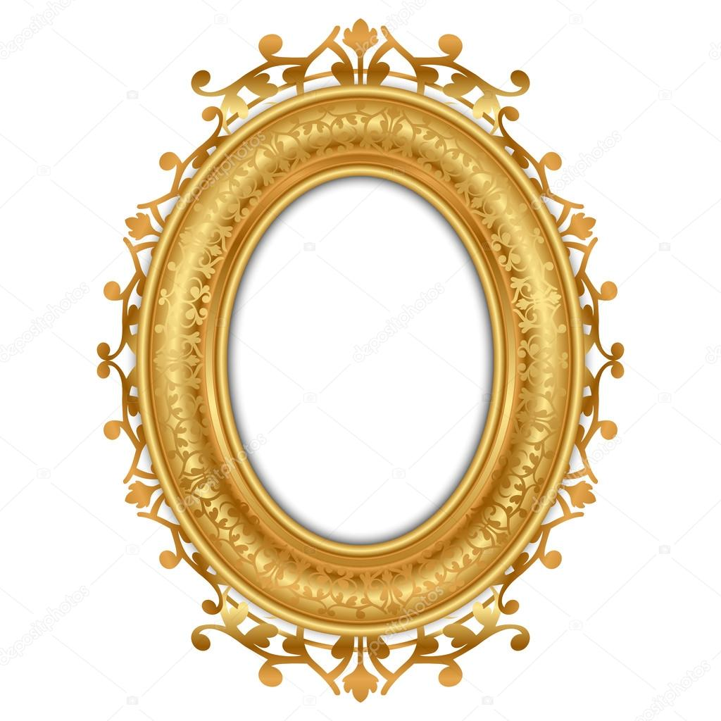 vintage mirror clipart. vector illustration of gold vintage frame stock mirror clipart