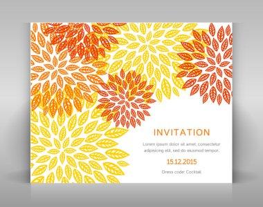 Orange floral invitation.