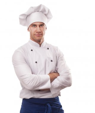 A male chef isolated over white background stock vector