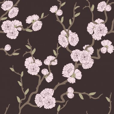 Beautiful seamless pattern with sakura
