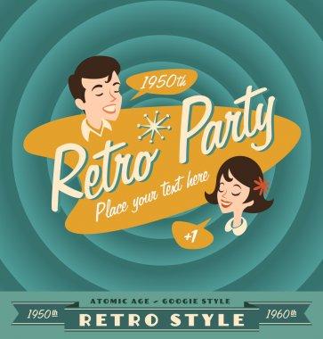 Vintage and retro lables retro party clip art vector