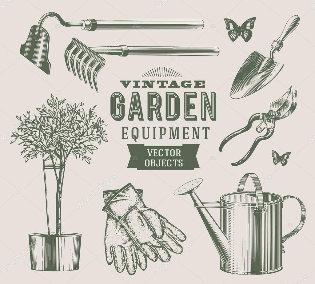 Vintage gardening tools vector garden designs for Gardening tools vector