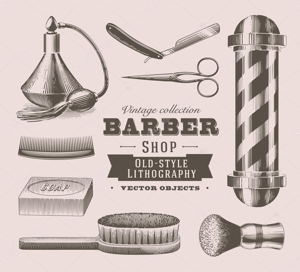 objetos vintage barbeiro u vetor de stock