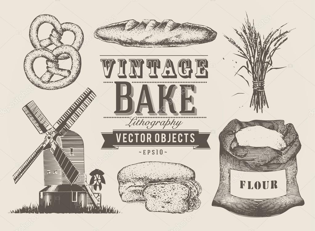 objetos vintage padaria u vetor de stock