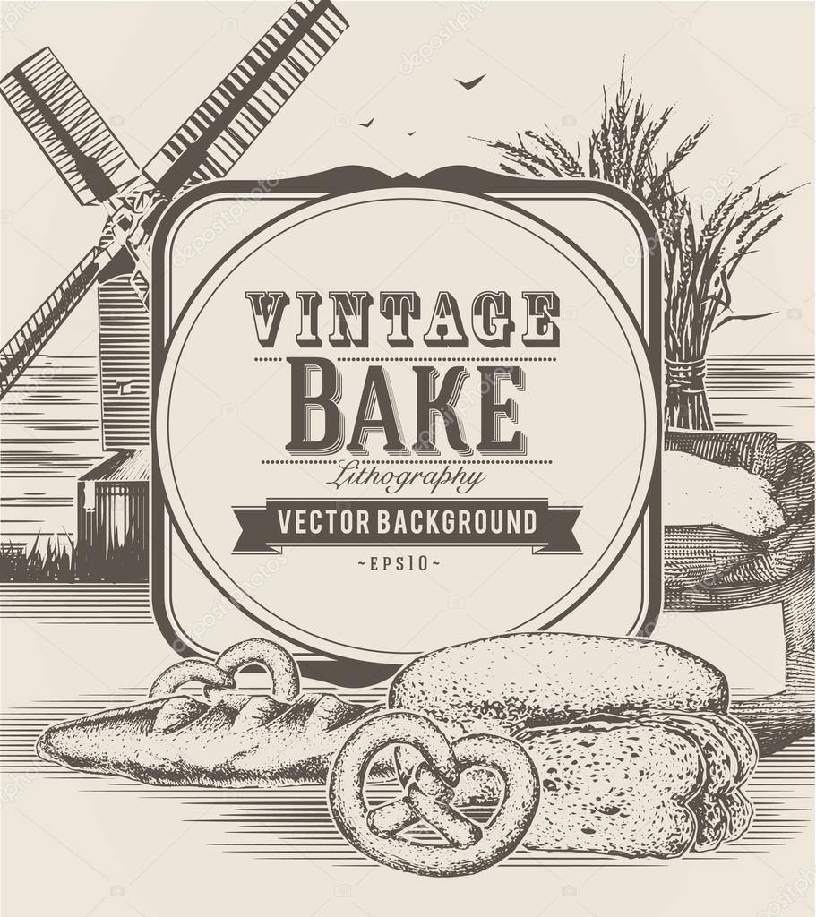 objetos vintage panadera u vector de stock