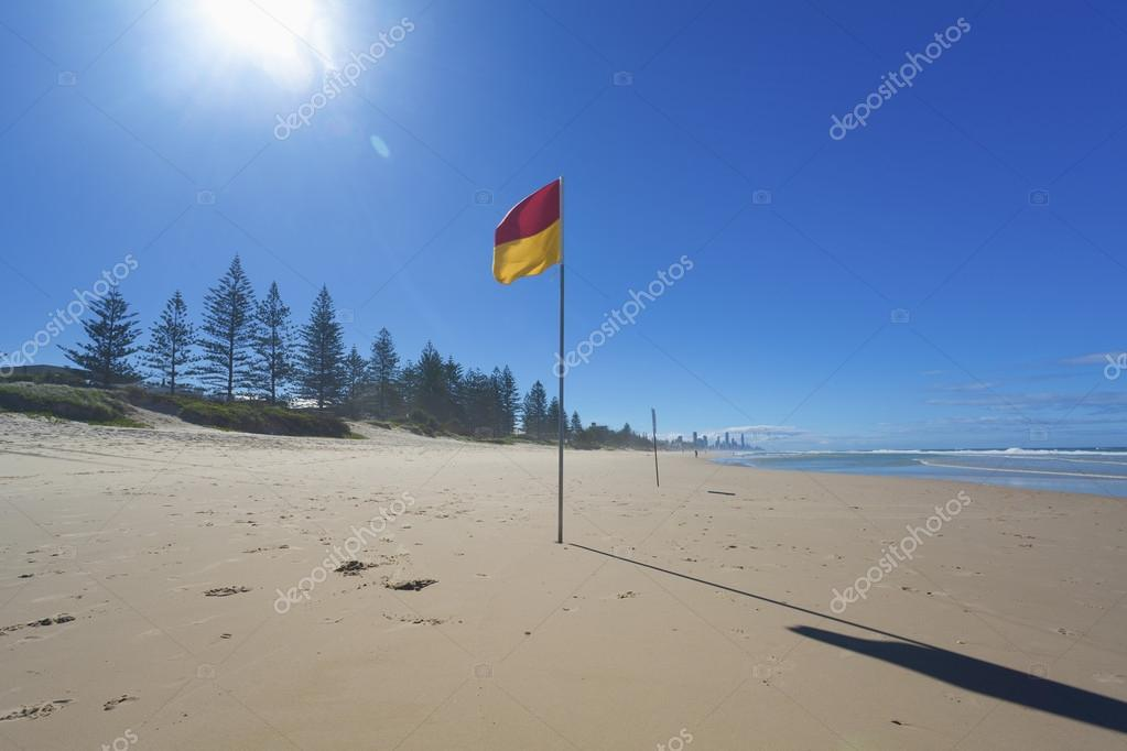 Lifeguard flag on Australian beach