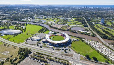 GOLD COAST, AUSTRALIA JUNE 16: Aerial view of Metricon Stadi