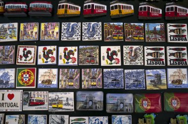 Magnets souvenirs from Lisbon city (Portugal)