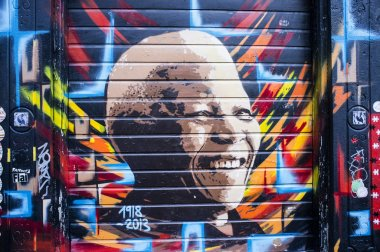 Graffity mural of Nelson Mandela in Amsterdam - The Netherlands