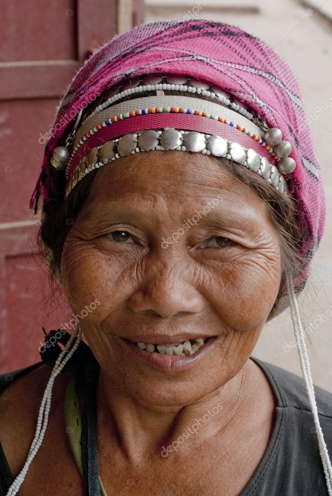 Old lady in local tribe costume in Muang Sing - North Laos