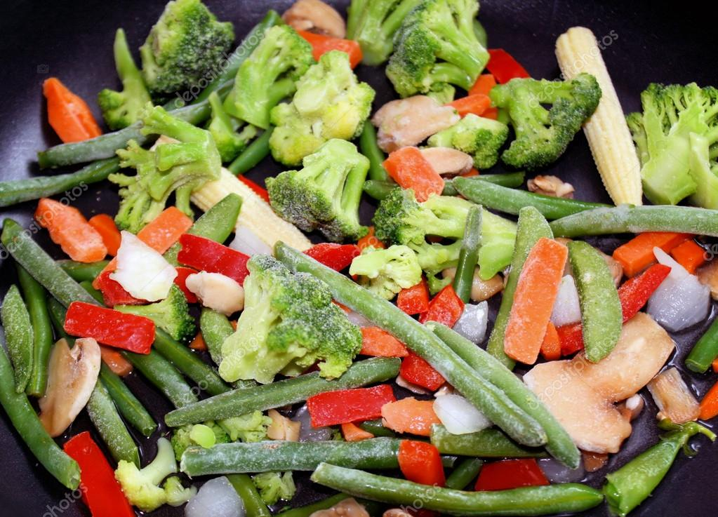 Frozen Vegetables In Skillet - ready for cooking