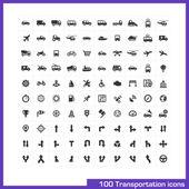 Photo 100 transportation icons set.