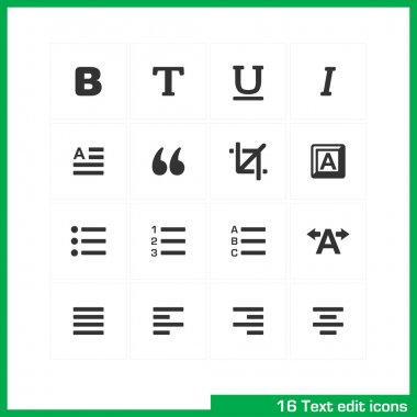 Text edit icon set.