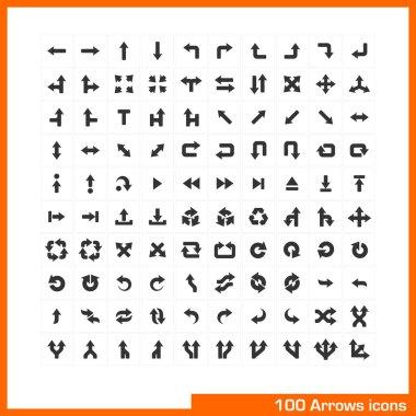 100 arrows icons set.