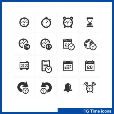 Date and time icons set.