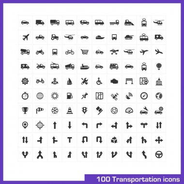 100 transportation icons set.