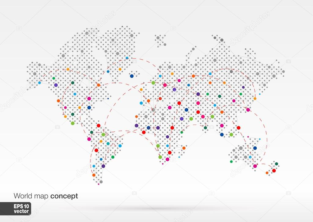 Stylized World Map concept with biggest cities Stock Vector r