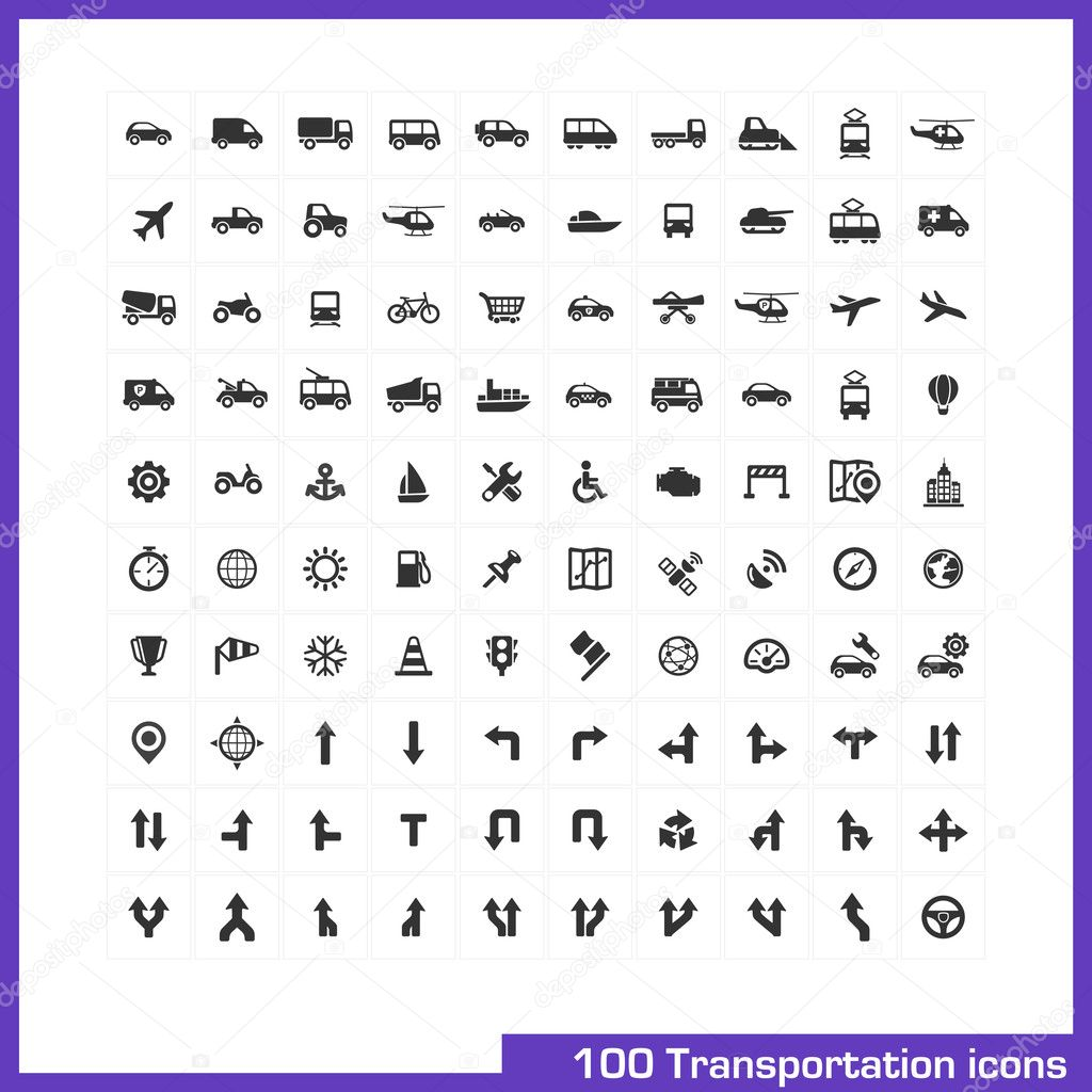 100 transportation icons set.