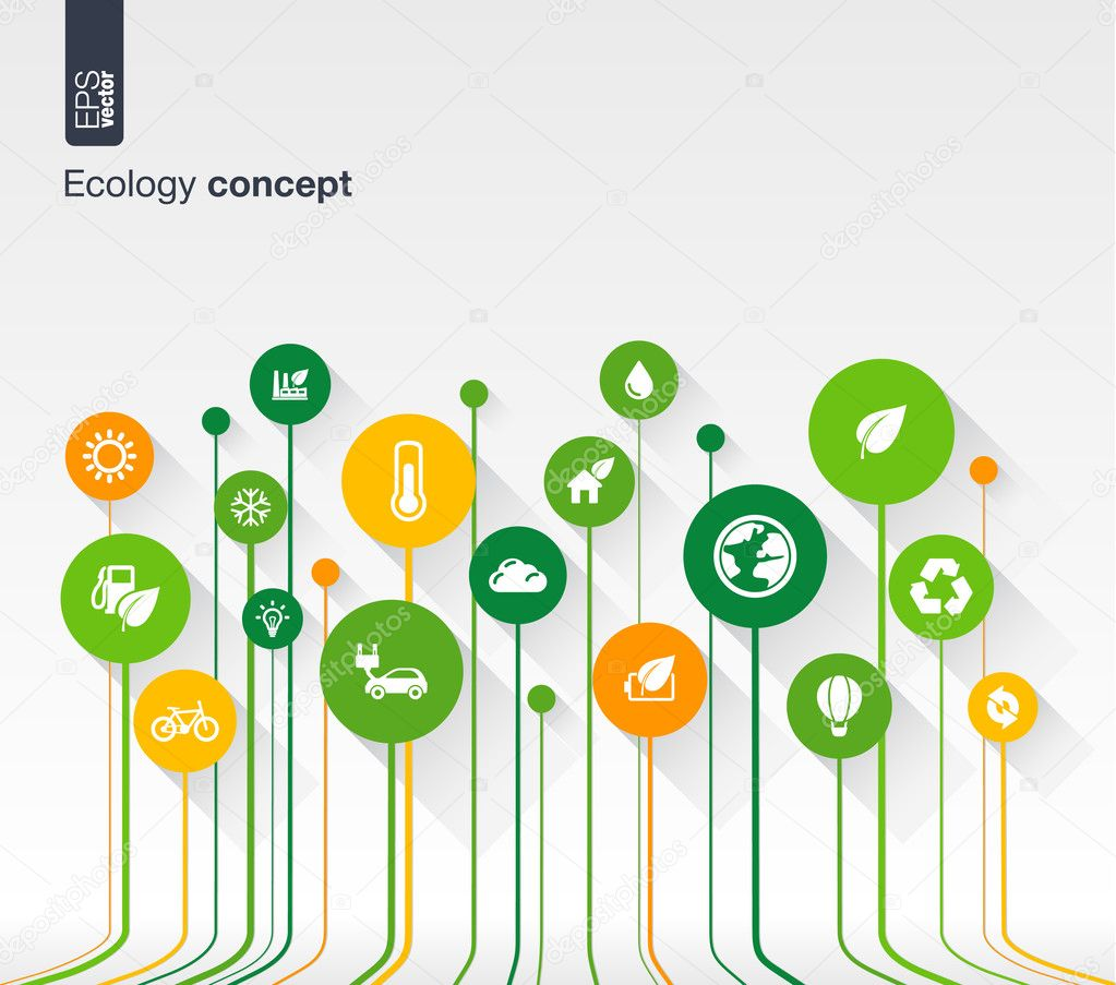 Abstract ecology background with lines, circles and flat icons