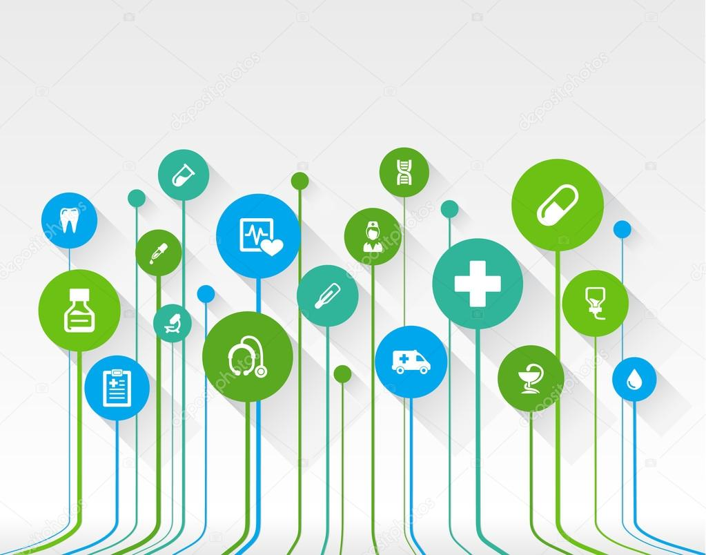 Abstract medicine background with lines, circles and flat icons
