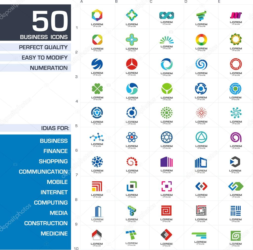 Set of 50 icons for business company