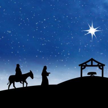 Nativity Jesus birth with star on blue night scene