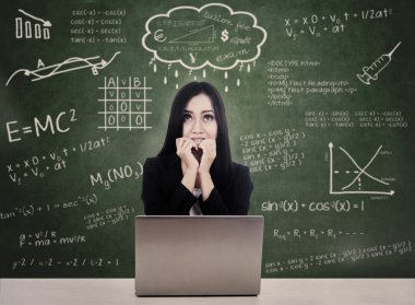 Afraid student facing online test with laptop