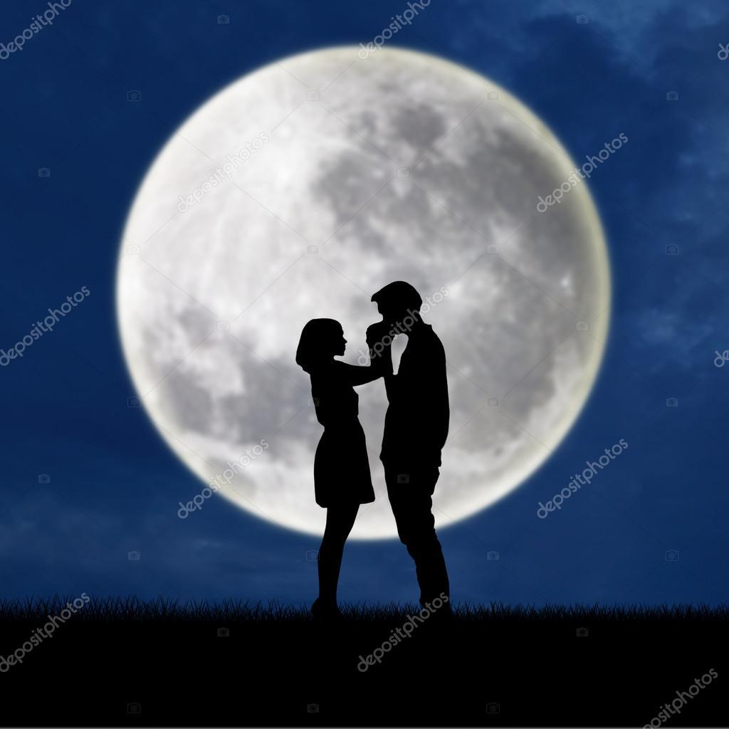 Guy kiss girl hand on blue full moon background