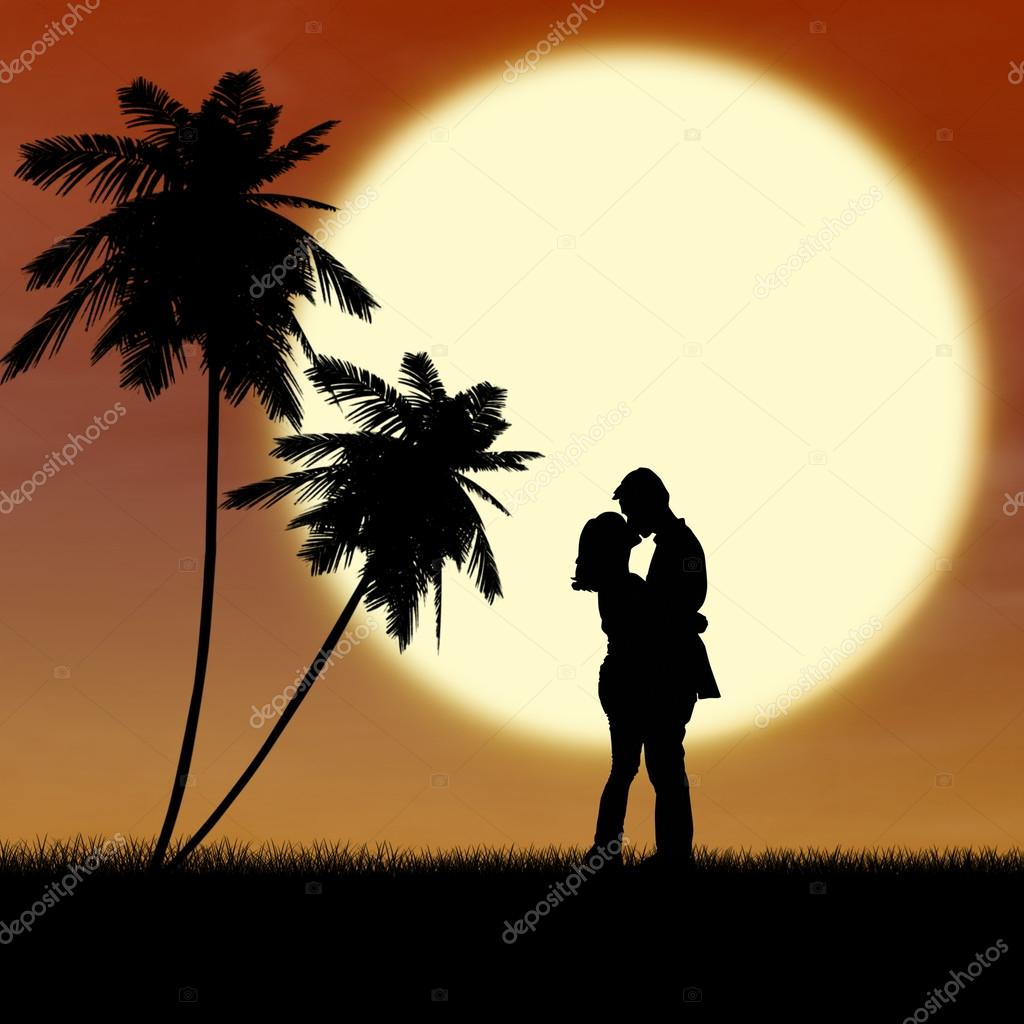 Honeymoon romantic couple silhouette