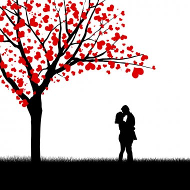 Heart leaves tree and couple silhouette