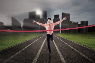 Businessman finish the race