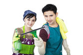 Photo Young couple cleaning copyspace - isolated