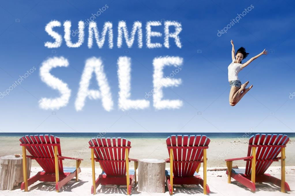 Advertising summer sale jump over beach chairs