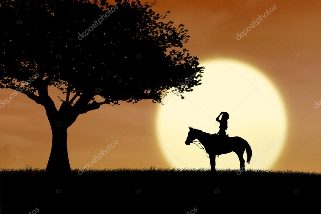 Horse rider silhouette at sunset in park