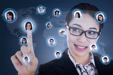 Businesswoman connect to digital network