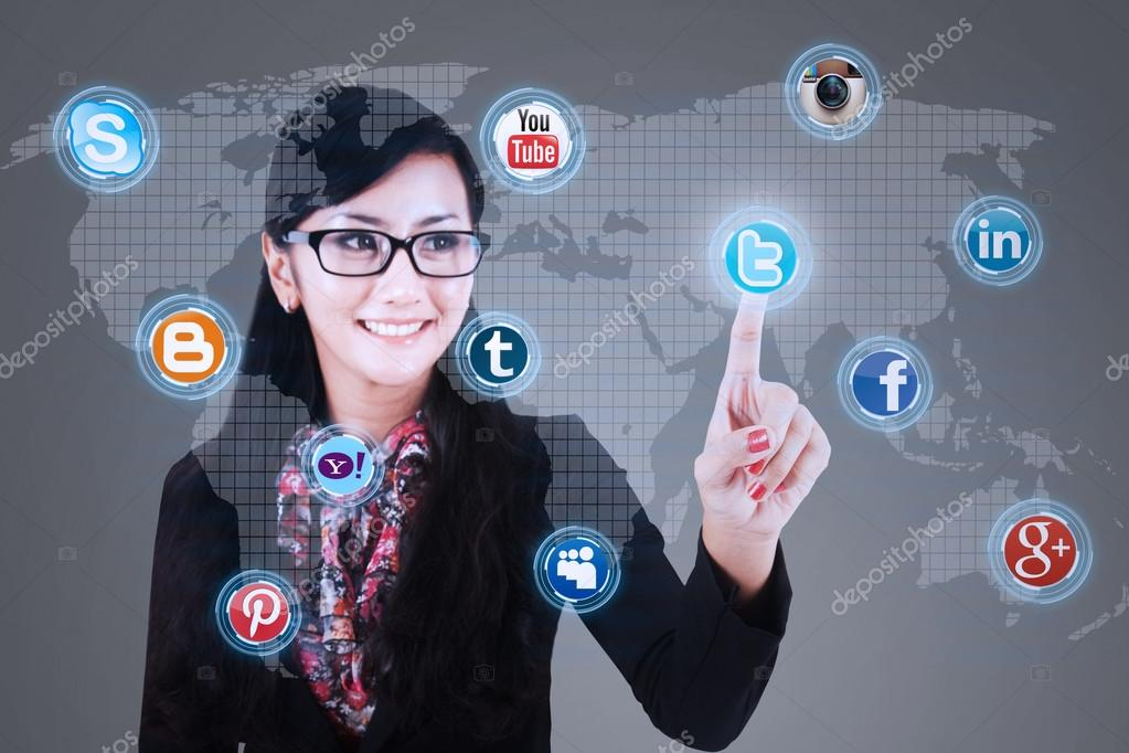Businesswoman click on social media