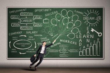 Businesswoman flying on written chalkboard