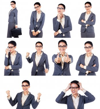 Businesswoman With Different Expressions